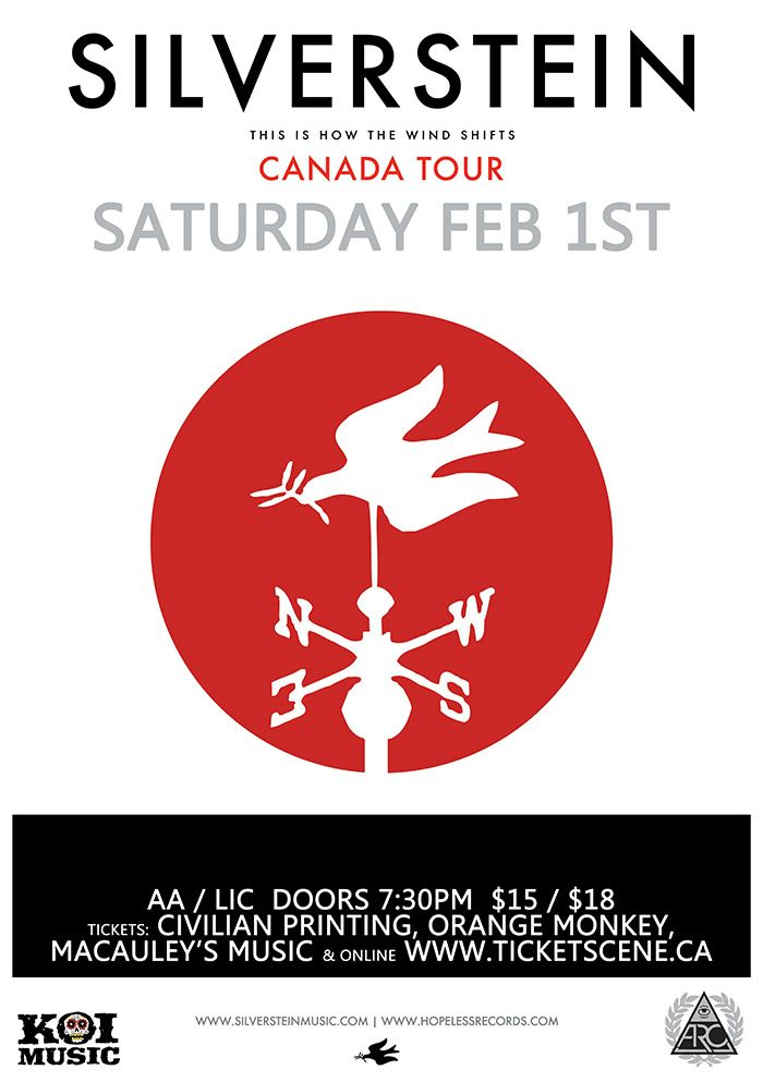 SILVERSTEIN in Kitchener will be at Opus in Kitchener, ON on Saturday, February 1, 2014. - Tickets available at: http://www.ticketscene.ca/events/9705/