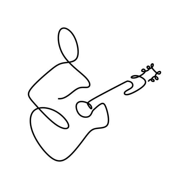 La Guitarra Jazz Instrumento De Musica Clasica Jugador Interprete Continua La Linea De Dibujo Dibujos De Lineas Simples Dibujos De Guitarras Dibujos Musicales