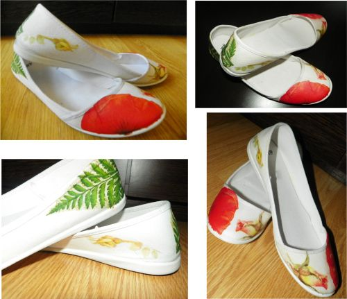 Hand painted shoes with fabric water resistant paint and  decorated with decoupage technique.
