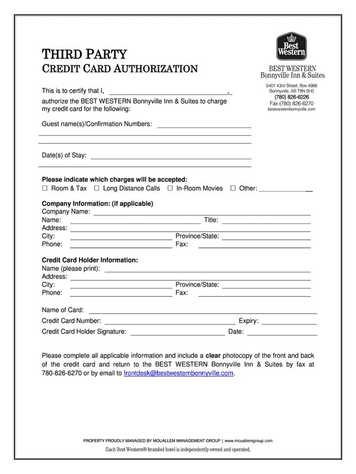 Best western credit card authorization form fill online