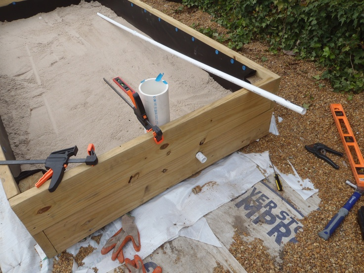 This is our 4 39 x8 39 wicking bed our version of a large for Homemade pond liner