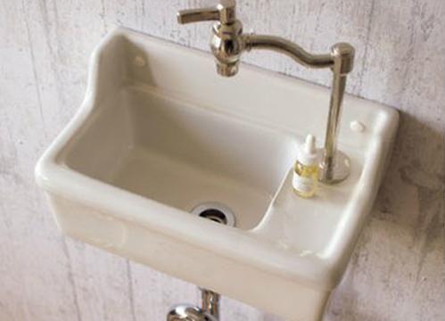 【楽天市場】【Essence】壁付型手洗い器Sレクタングル/立水栓用(2色)【10P30May15】:アンの部屋