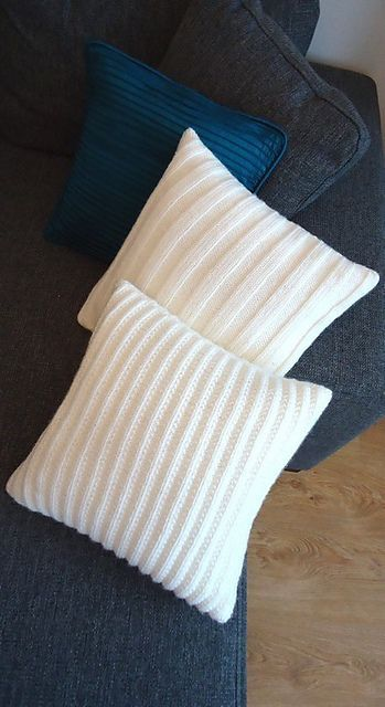 Free knitting pattern for a ribbed cushion cover. Find more free knitting patterns on this website.
