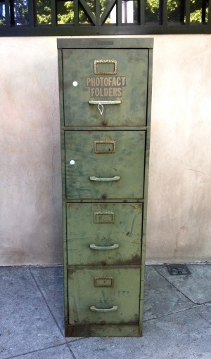 green industrial filing cabinet-could do this with my old file cabinets