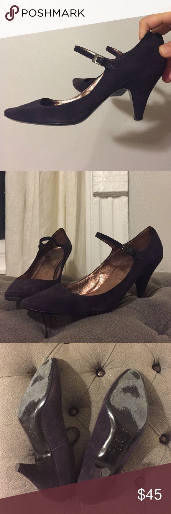 "Sigerson Morrison purple suede Mary Janes purple suede, 2 1/2"" heel. Good condition Sigerson Morrison Shoes Heels"