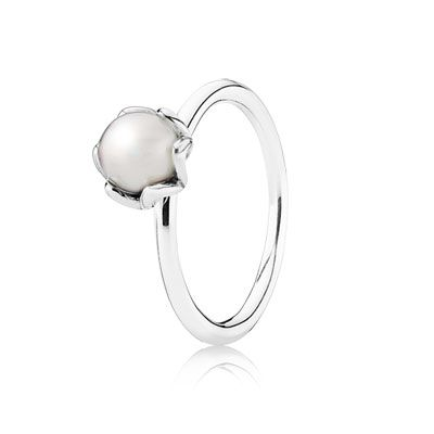 Elegant sterling silver ring with freshwater cultured pearl. Wear it alone or stack it with other PANDORA rings. $50 #PANDORAring