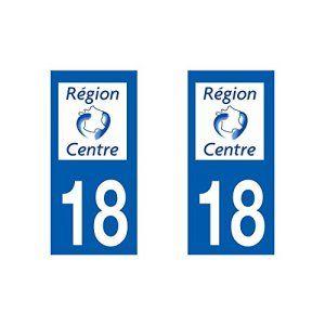 Autocollant plaque immatriculation pour Auto Centre département – Centre / 18 Cher
