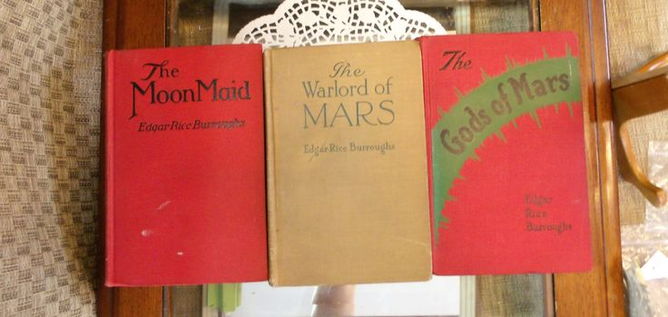 Edgar Rice Burroughs Books ~ The Moon Maid 1926 ~ The Warlord of Mars 1919 ~ The Gods of Mars 1918 ~ Classic Fiction TARZAN  ~ Red books by EclecticJewells on Etsy