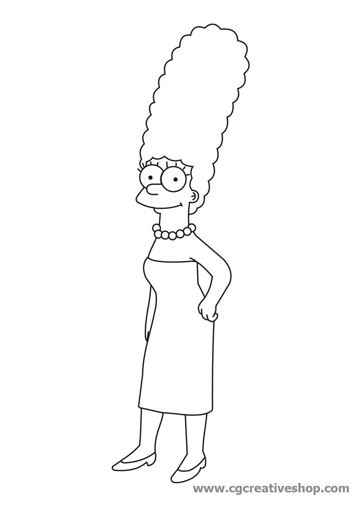 Coloring Marge Pages Simpson 2020 Simpsons Drawings