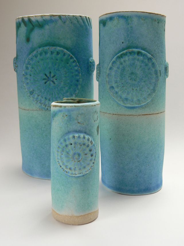 Turquoise Circle Small Ceramic Vase. £7.95