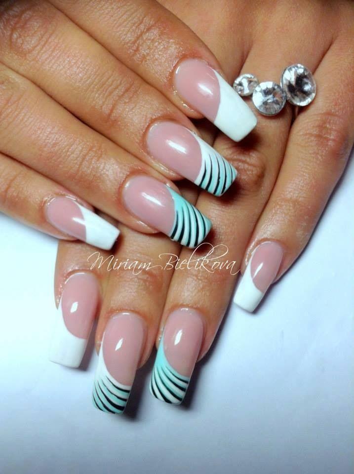 shell design - light blue, white, & black diagonal french tipped nails