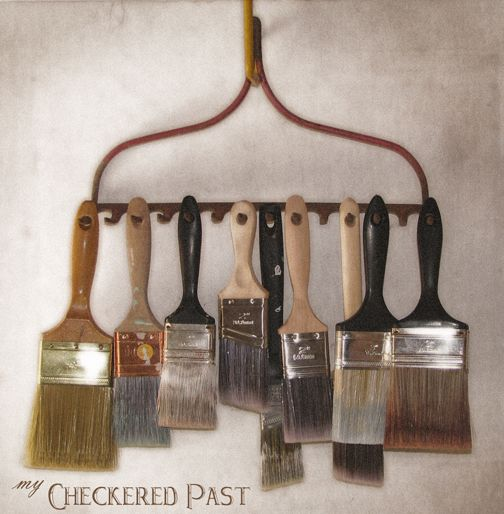 Repurposed Rake Paintbrush Hooks