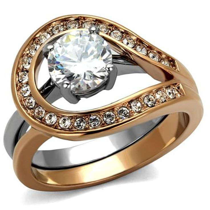 Two Tone Rose Gold Plated Stainless Steel Clear AAA CZ Womens Wedding Ring Set