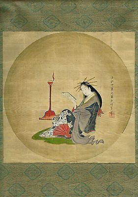 Early Original Japanese Painting on Silk: Bijin by Lamplight by Eishi