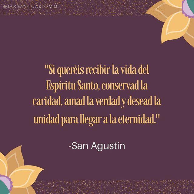 """#FRASES DE #SANTOS """"Si queréis recibir la vida del Espíritu Santo, conservad la caridad, amad la verdad y desead la unidad para llegar a la Eternidad""""...San Agustín"""