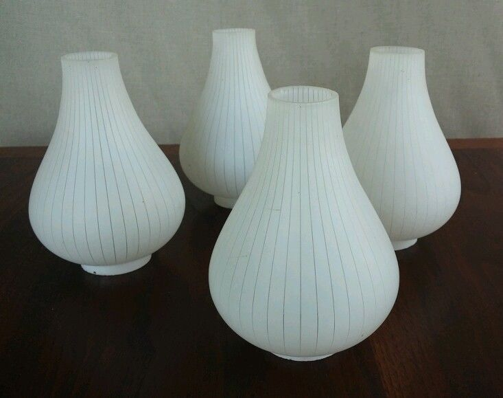 4 VTG MCM teardrop replacement glass chandelier lamp