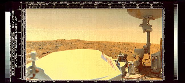 NASA's Viking probes were the first ever to successfully set footpad on Mars in a powered landing. The Viking 1 lander set down in July 1976 and didn't go silent until November 1982. Viking 2 landed in September 1976 and kept working until April 1980. Credit: NASA