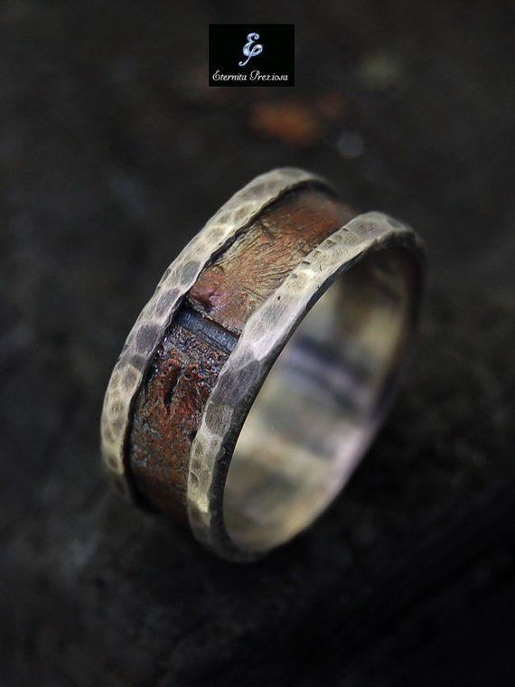 Rustic Men Ring Silver Copper Ring Men's by EternitaPreziosa