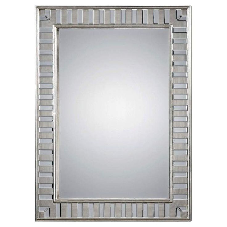 """Uttermost 09046 Lanester 48"""" x 36"""" Wood Frame Flat Mirror Antiqued Silver Home Decor Mirrors Lighting"""