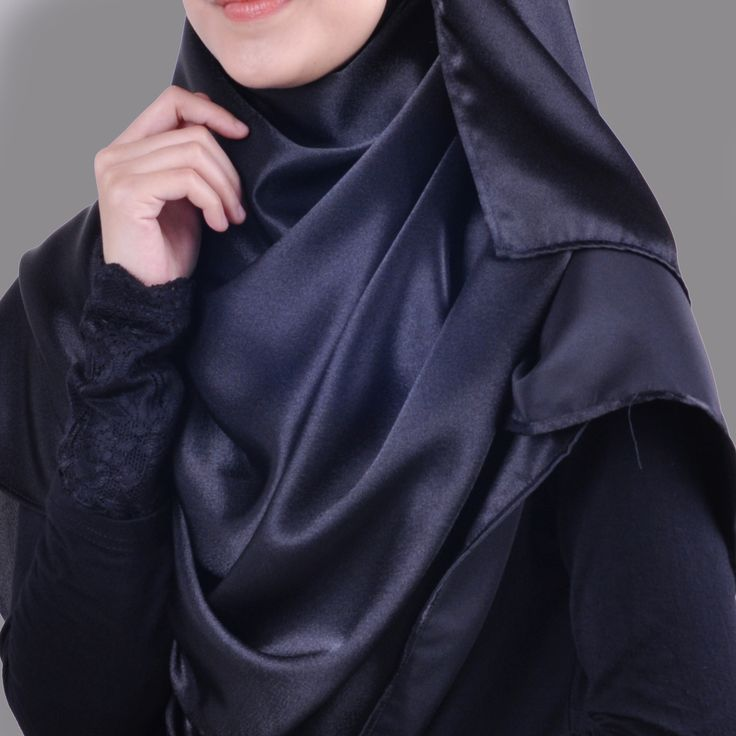 Basic Plain Wide Satin Silk Shawl in Black (Free Hijab Pin!) - BAJUFOUNDRY