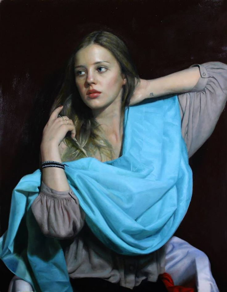 Artist: Cesar Santos, oil on canvas, 2014 {contemporary renaissance beautiful female head torso blue scarf young woman face portrait painting #loveart} santocesar.com: