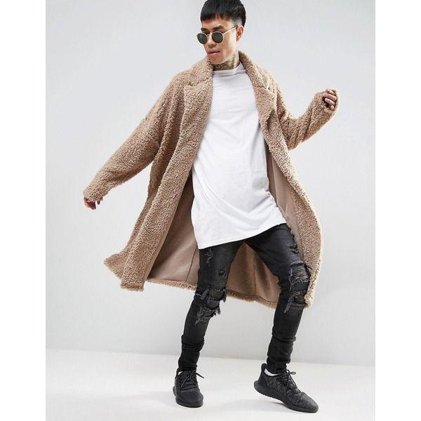 Oversize Mantel aus Teddyfell in Beige für Männer