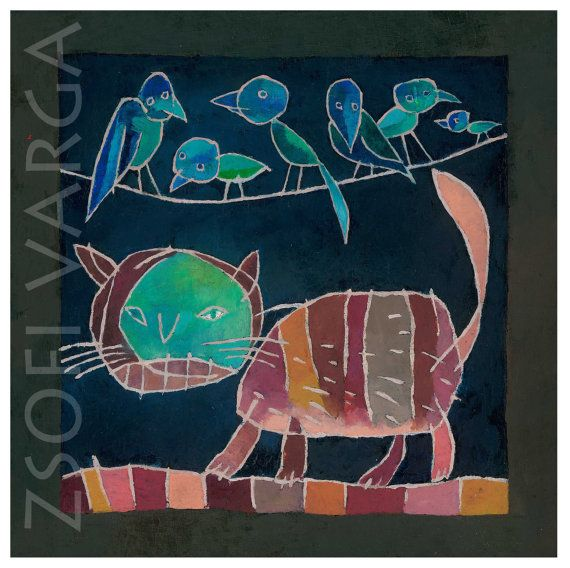 #etsy #giclee print #cat #figurative art #contemporary painting #grotesque art #art print