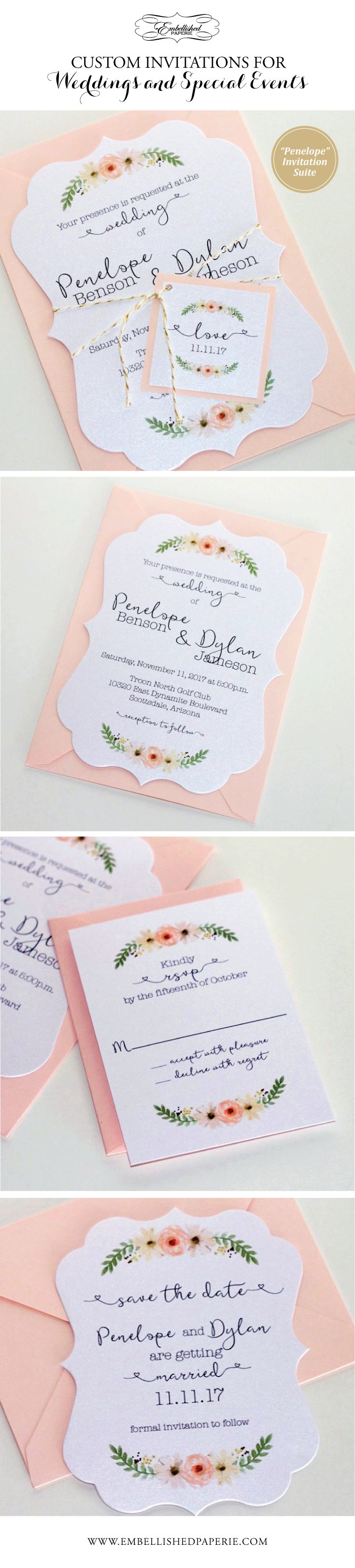 Custom Die Cut Wedding Invitation - Vintage Style Wedding Invitation - Water color flowers - Printed on White metallic card stock with Blush Pink envelopes.  Perfect Soft and Pretty Invitation for a Romantic Wedding.  www.embellishedpaperie.com
