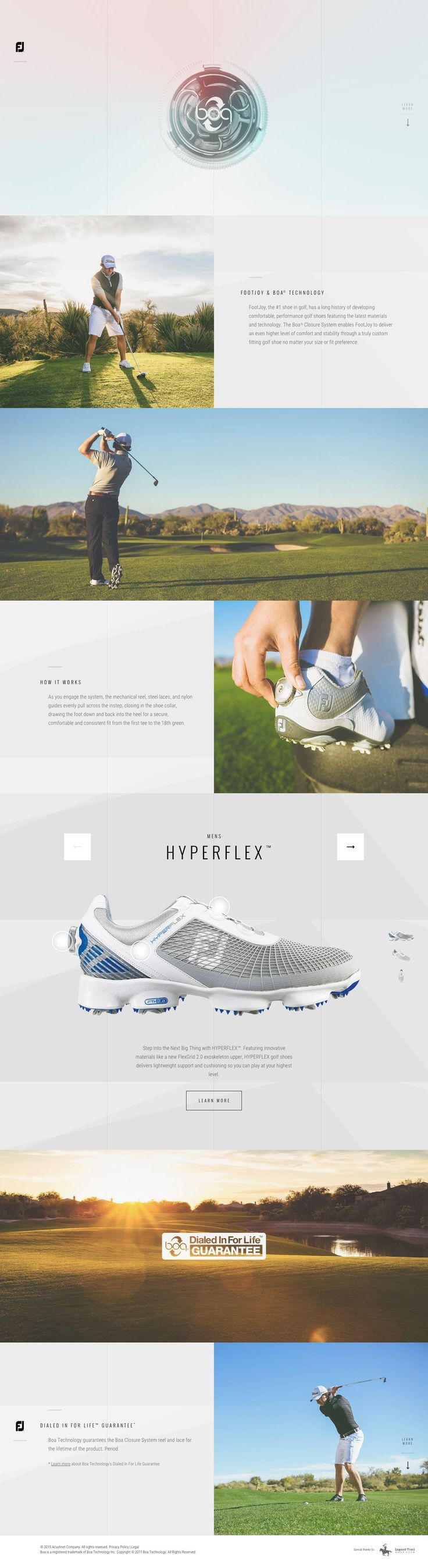 FootJoy and Boa. Developing the best of golf. #webdesign (More design inspiration at www.aldenchong.com)
