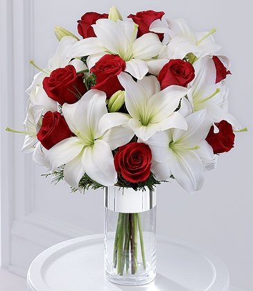 Lilies and red roses...