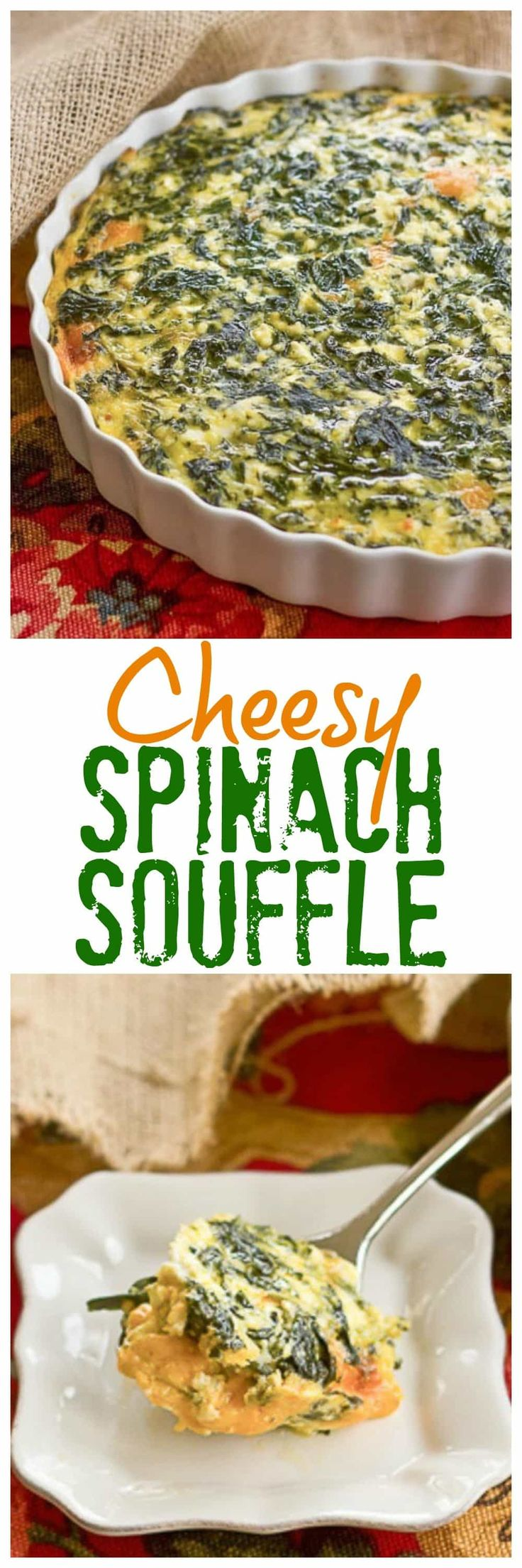 Spinach Souffle | An easy, cheesy, old-fashioned side dish from my childhood! @lizzydo