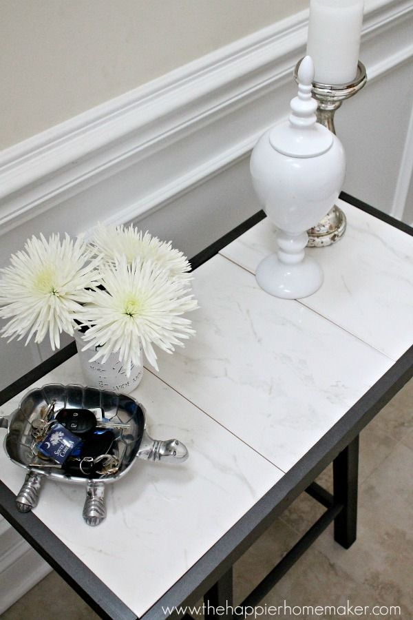 How to build this marble tile top table from The Happier Homemaker.