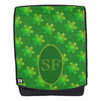 Festive Snowflake Green and Gold Monogram Backpack - monogram gifts unique design style monogrammed diy cyo customize