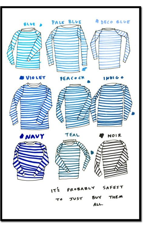 """""""it's probably safest to just buy them all.""""Fashion, Style, Closets, Colors, Blake Wright, Stripes Shirts, Blue Stripes, Sailors, True Stories"""