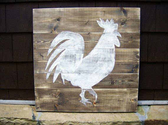 Rooster Silhouette Painting  Distressed by BlueRidgeSawdust,
