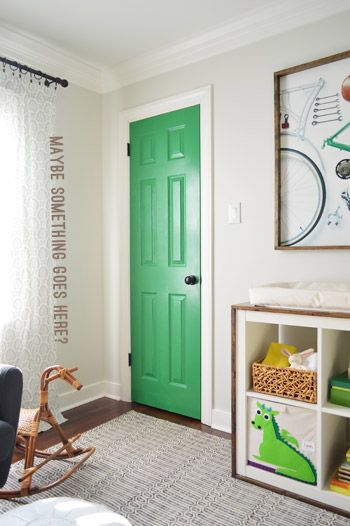 Young House Love | Door Decisions, Art Updates, and One Big Belly | http://www.younghouselove.com Door Irish Moss Benjamin Moore