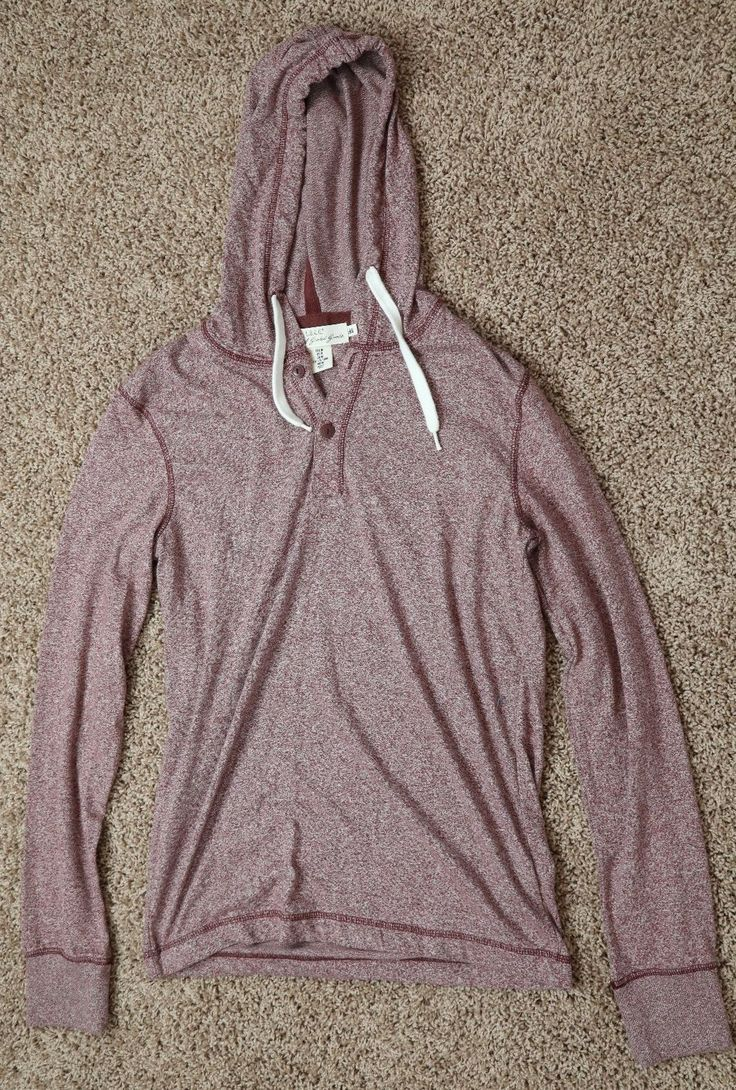 H&M long sleeve tee with hood. Burgundy color with buttons near neck. Hood has strings to tighten. Very soft. Tags removed but never worn! Great Condi... #size #medium #hood #with #burgundy #shirt #mens