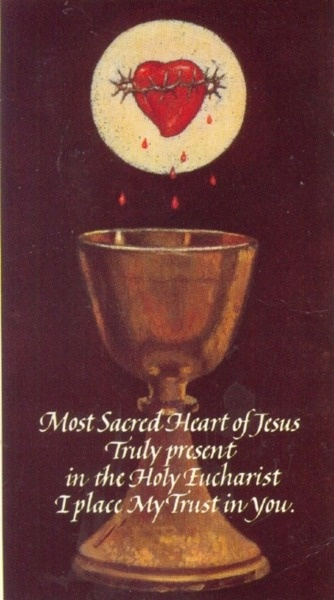 """""""Most Sacred Heart of Jesus, truly present in the Holy Eucharist, I place my trust in Thee."""""""