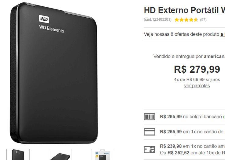 HD Externo Portátil WD Elements 1 TB USB 3.0 << R$ 23998 >>