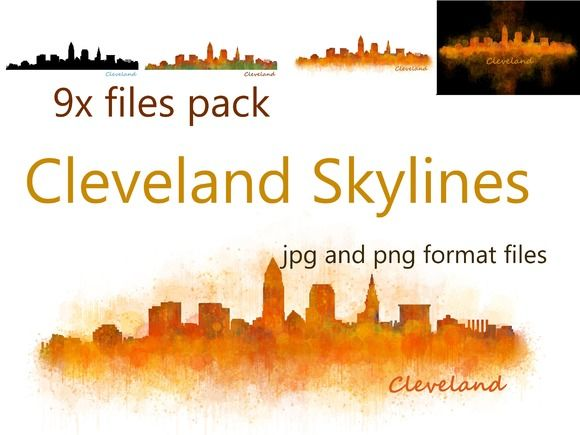 9x files Pack ClevelandCity Skylines by HQPhoto Store on @creativemarket