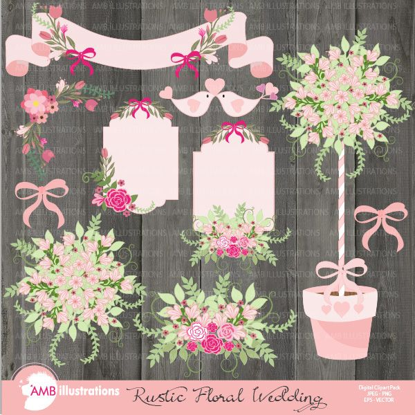 Rustic Floral Wedding Clipart