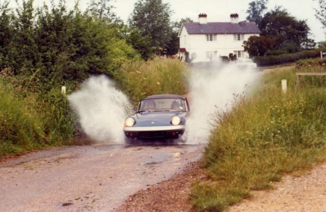Geoff and Sue Nichols at Matching Green, Essex, in Lotus Elan SE3, on Hugh Rynal Trophy Rally, in about 1972.