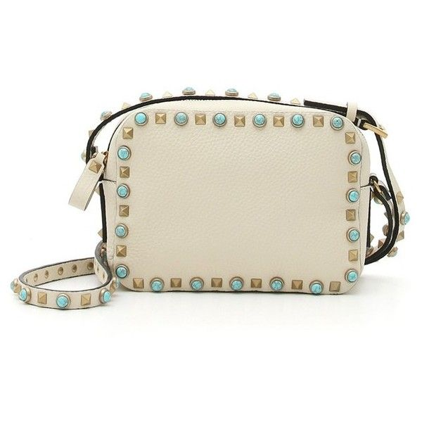 Valentino 'Rockstud - Alce' Camera Leather Crossbody Bag (6.800 BRL) ❤ liked on Polyvore featuring bags, handbags, shoulder bags, light ivory, leather crossbody handbags, crossbody purse, brown leather handbag, brown crossbody purse and vintage leather crossbody