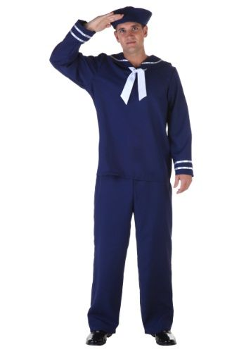 This Adult Blue Sailor Costume features a classic nautical uniform look in a…