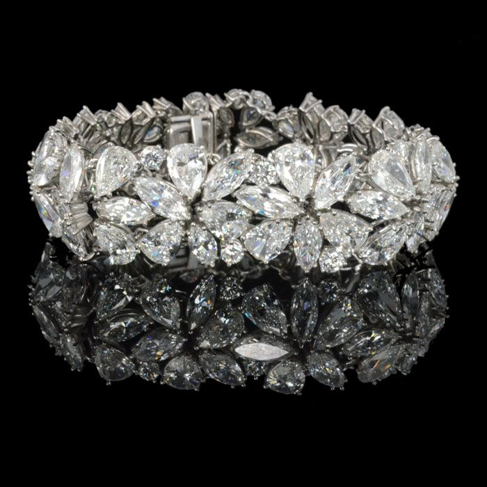 Stunning Abstract design bracelet set with marquise,pear & round brilliant cut diamonds by Harry Winston New York c1970