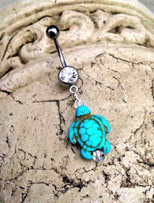 Turquoise+Sea+Turtle+Belly+Button+Ring+
