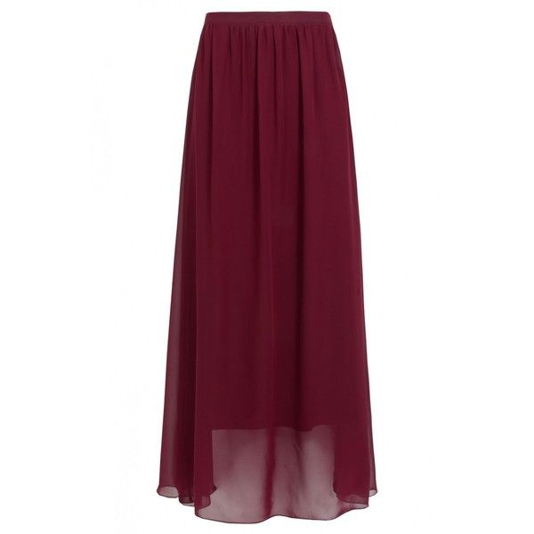 Burgundy Chiffon Maxi Skirt ($5.26) ❤ liked on Polyvore featuring skirts, bottoms, saias, ankle length skirts, chiffon skirts, long chiffon skirt, floor length skirt and purple skirt