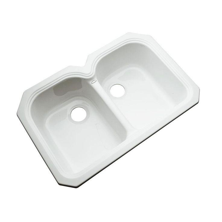 hartford undermount acrylic 33 in double basin kitchen sink in white - Kitchen Sink Double