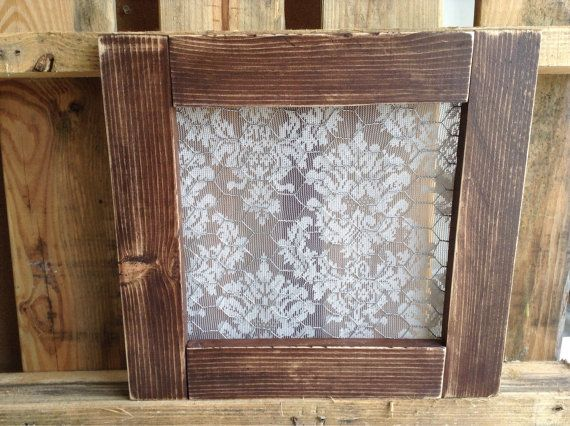 Wood Frame Pane Free Window With Vintage Lace Behind