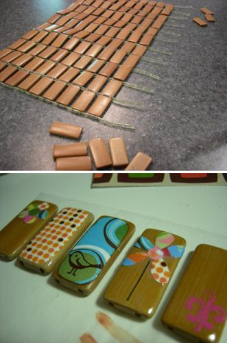 ~HOW TO - Make a Bamboo Pendant.  Can use tiles to cover with polymer clay.  Already predrilled~